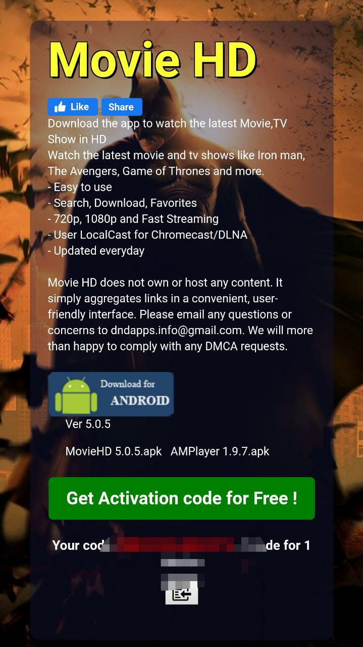 Get Activation Code for free Movie HD