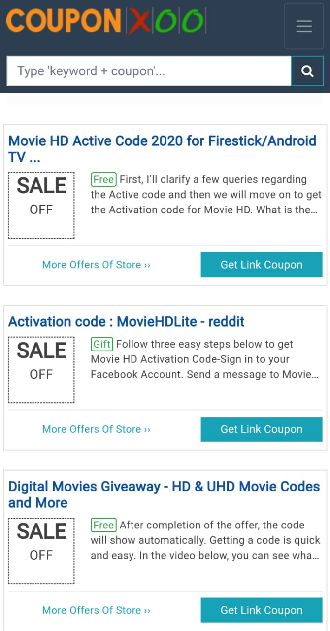 coupon codes movie hd